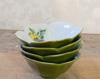 Lotus Flower Rice Bowls with yellow bird goldfinch design, set of 4, Turquoise, Khaki, Japan
