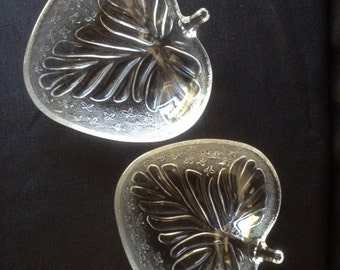 Pair of Vintage Clear Pressed Glass Leaf Shaped Side Dishes