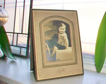 Vintage Photograph Adorable Little Boy 7.75 x 5.5 Inches 1930s