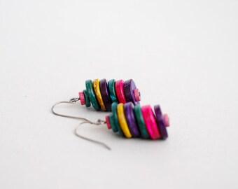 Colorful Coconut Earrings, Earth Tone Earrings, Dangle Earrings, Natural Earrings