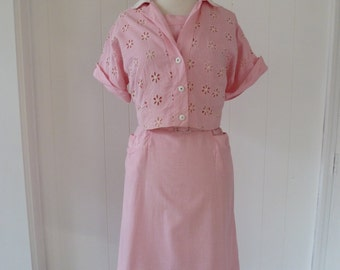 50's Plus Size Pink Gingham Dress and Bolero Jacket Set Daisy Eyelet Cotton Rhinestone Button XL