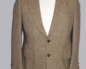 Mens Vintage Harris Tweed Tan Herringbone Two Button Front Sport Coat Blazer Jacket Suit Jacket