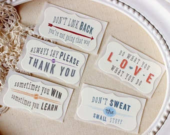 Good Advice Stickers Typography Love Say Please and Thank You Don't Look Back
