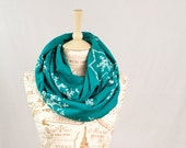 Mommy and Me Scarf Set, Winter Scarf, Matching Infinity Scarf, Holiday Scarf, Snowflake Infinity Scarf, Turquoise Cotton Scarf Gift Teal