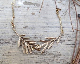 tree leaves choker, gold brass, natural, organic, perfect mom gift, september trends, botanical jewelry, mai solorzano, leaves necklace