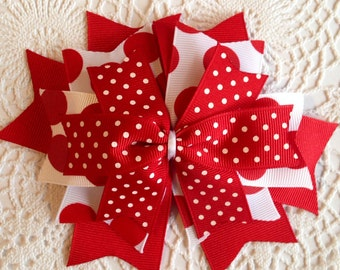 Red and white clip, school spirit hair clip, cheerleader hair clip, Christmas hair clip, candy cane, red polka dots, red and white swiss dot