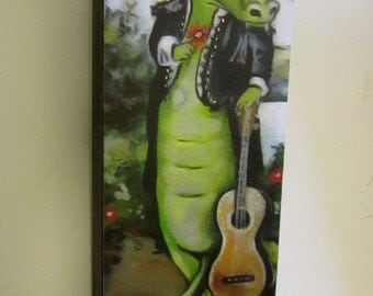 Mariachi Alligator wood-mounted print small animal print on wood 3.5 x10.5
