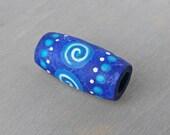 Dread Bead - Blue Wooden Dreadlock Bead - Wood Hand Painted Hair Bead - Blue Tribal Dread Bead