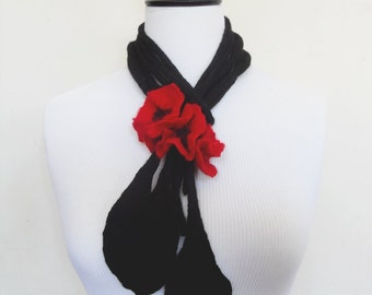 Fiber Felt Necklace Poppy Black and Red Flower Bib Necklace