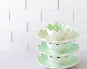 Green Dessert Set - Anchor Hocking Lotus Bowl and Plate Set - Leaf and Blossom Set - Pastel Green - Lotus Flower - Set of 3