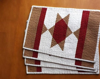 Southwest Star quilted placemats (set of 4) Lone Star State Country western mexican indian horse blanket farmhouse Americana casual dining