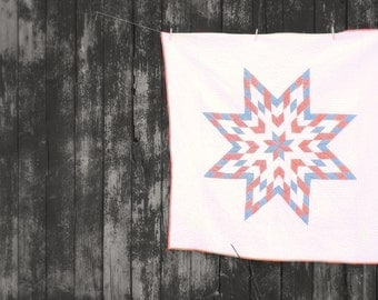 Lone Star country farmhouse twin size bed blanket barn quilt retro dairy blue print little cottage cabin western accent home and living