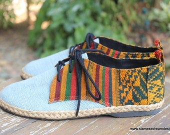 Vegan Oxfords, Men's Shoes In Natural Hemp & Colorful Laos Tribal Embroidery 8 / 8 1/2 - Alex