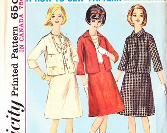 Pattern Simplicity 5648 Misses suit lined fitted jacket elbow length sleeves with a-line skirt Size 12 (uncut)