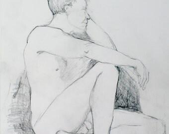 Male Nude Figure Study, Life Drawing in Pencil, Original Graphite, Man