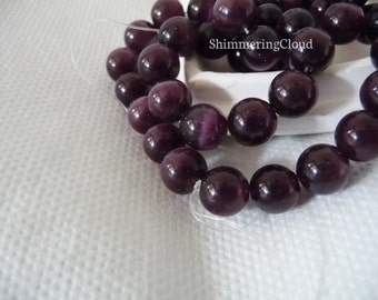 "Cat eye, cat's eye, gemstone, beads, gemstone beads, vintage, beads, vintage beads, purple, deep red, burgundy, 6 mm / 0.236 """