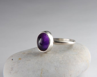 Amethyst Ring Simple Ring Purple Ring Natural Stone Ring Handmade Silver Ring February Birthstone Ring Amethyst Jewelry