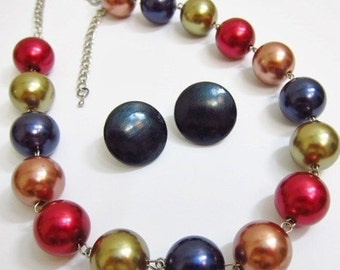 Vintage Multi Color Metallic Bead Chunky Necklace Earrings