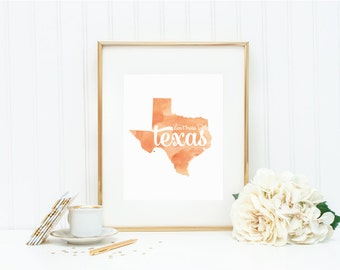 """Texas State Watercolor Art Print - """"Don't Mess with Texas"""" - Mirabelle Creations"""