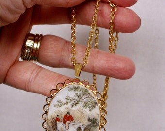 Vintage Sugared Oval Pendant Necklace - Equestian Riding Horses Hunting Dogs