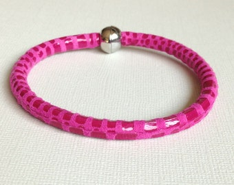 5mm Leather Bracelet, Bright Pink, Cancun Leather, Textured,Bangle