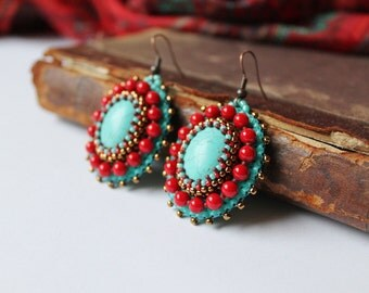 Turquoise Earrings Red Turquoise Earrings Bead embroidery Earrings Turquoise Dangle Earrings Turquoise Red Ethnic Tribal MADE TO ORDER