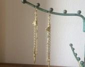 Golden Wine List - Mixed Chain Earrings - Charm Earrings