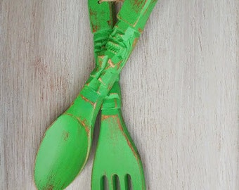Big FORK and SPOON - Lime Green Shabby Chic Large Fork and Spoon Wall Hangings for Kitchen Decor
