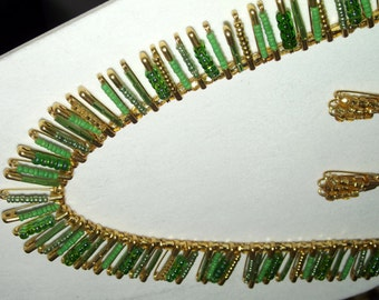 Green and gold safety pin necklace and earrings
