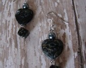 Pierced Earrings Hearts Charcoal Jasper Stone Hearts and Dice Love is a Gamble