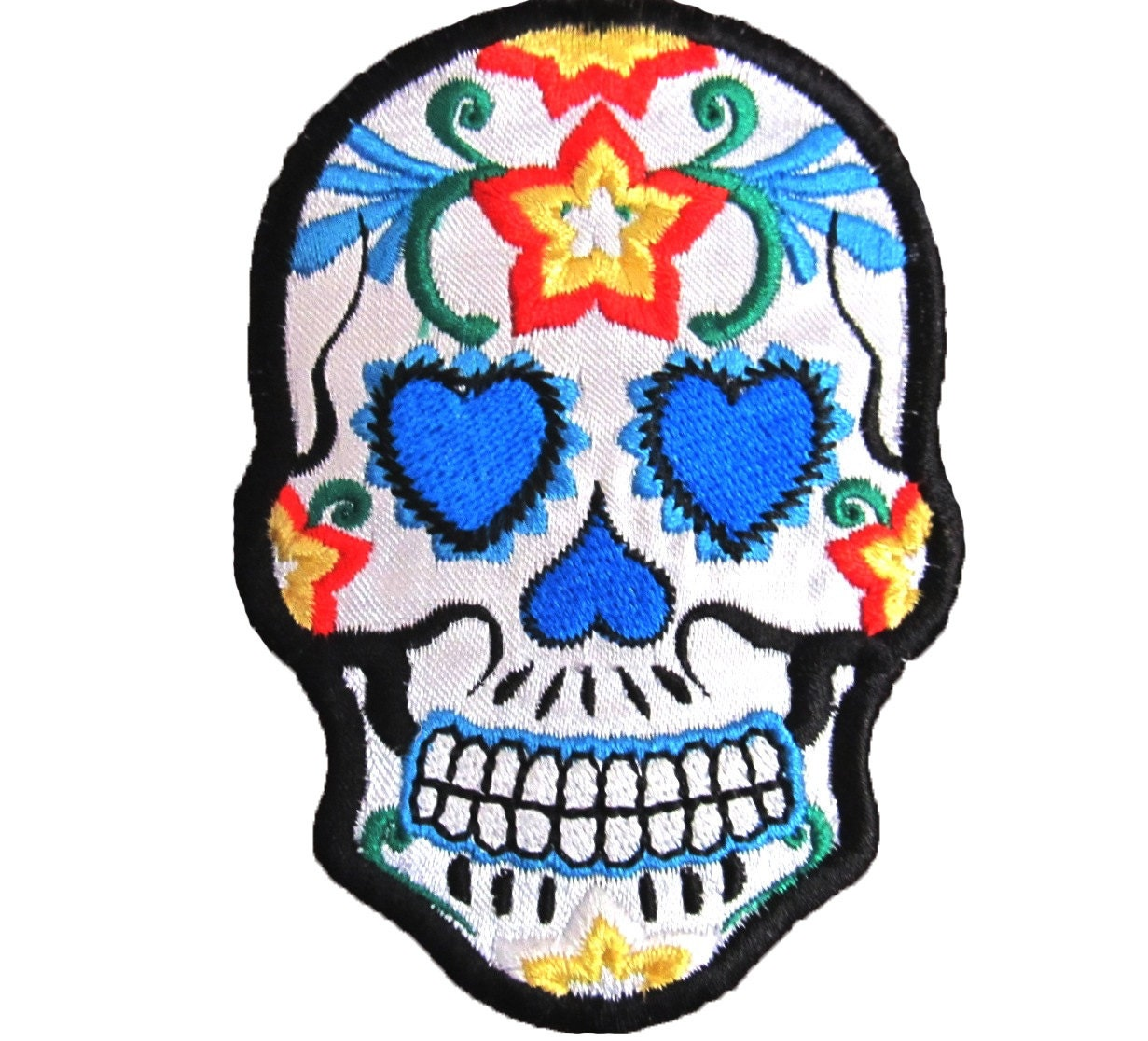 Sugar Skull Iron On Patch Day of the Dead Goth Punk by ...
