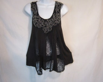 Vintage Black Smock with Small Silver Beads