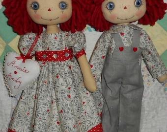 E-pattern  18 Inch Raggedy Annie & Andy cloth dolls