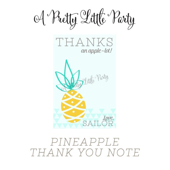 PINEAPPLE Thank You Cards - Pineapple Party - Party Supplies