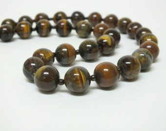 Rich looking Tiger Eye Beaded Gemstone Necklace with tiny brown spacer beads