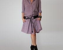 Oversized Button-Down Shirt / Wide Shirt / Hi-Lo Hem / Linen Shirt Tunic /CH007