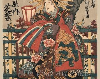 Japanese Art Print Reproductions: The Courtesan Shigeoka by Utagawa, Toyokuni, c. 1848. Fine Art Print
