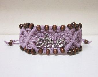 Micro Macrame Cuff Bracelet - Love - Handmade Macrame Accessory by Evgenia Garcia