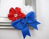 4th of July Headband - Flower Headband - Elastic Headband - Red White Blue Headband - Baby Girl Teen Headband - 4th of July Hair Accessory