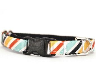 Diagonal Stripe Puppy Collar - Orange, Gold, Mint, Black & White - Toy Small Dog Collar - The Oliver