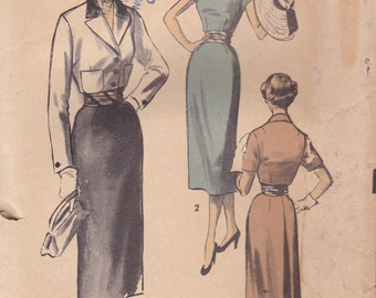 1950s Elegant Summer Dress & Cropped Jacket Pattern Advance 6076 Size 14 Uncut