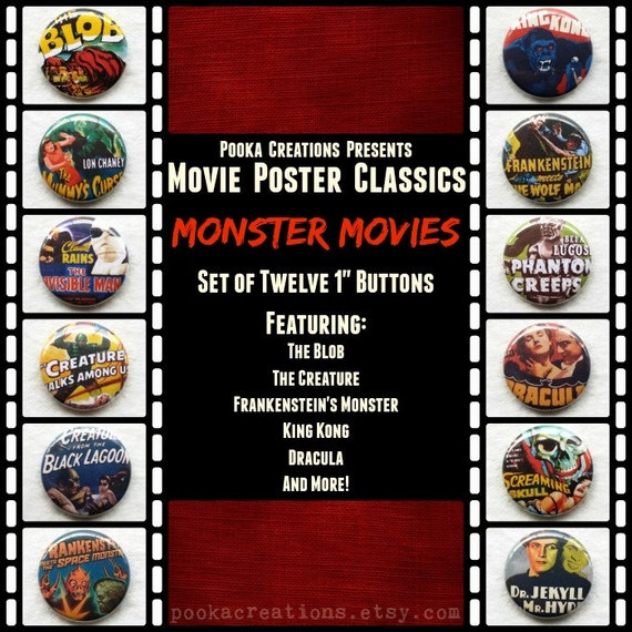 """Monster Movies Set of 12 1"""" Pinback Buttons or Magnet Buttons. Classic Poster Designs for Iconic Monster Movies! Featuring Dracula, Frankie."""