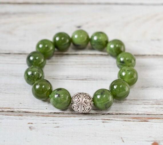 Genuine Jade Beads: Jade Nephrite Bracelet Genuine Gemstone Bracelet By