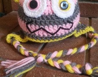 Baby Girl Monster Hat, Winter Hat for Baby Girl, Newborn Crochet Monster Hat, Baby Girl Hat, Little Monster Baby Hat, Pink Monster, Baby Hat