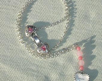 Heart Shaped Frame & Pink Gemstone Necklace