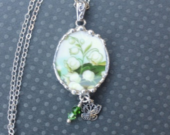 Necklace, Broken China Jewelry, Broken China Necklace, Oval Pendant, Lily Of The Valley China, Sterling Silver, Butterfly Charm