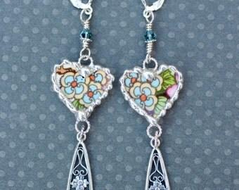 Earrings, Broken China Jewelry, Broken China Earrings, Long Earrings , China Heart, Blue Floral China, Dangle Earrings, Sterling Sliver