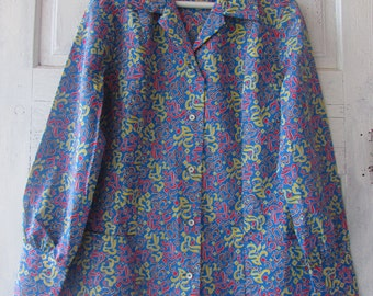 SALE Take off 50% of the original price Vintage Mod deadstock  Ladies' SHIRT colorfull sixties rare find