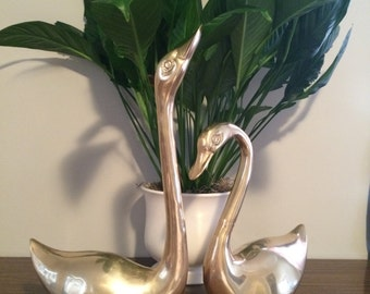 Vintage XXL Brass Birds Swans Geese Set of Two