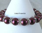 Handmade maroon, and silver glass pearl beaded bracelet, gifts for women, ready to ship, gifts for mom, gift wrapped, made in Montana